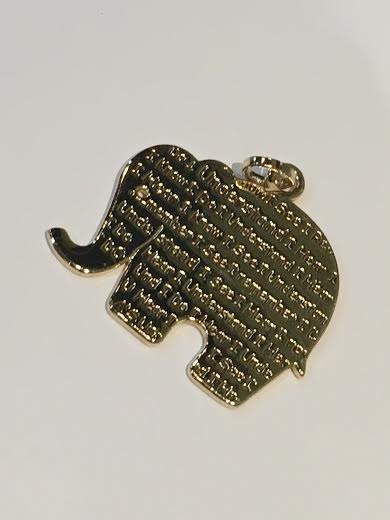 Gold Elephant Plain With Writing Charm
