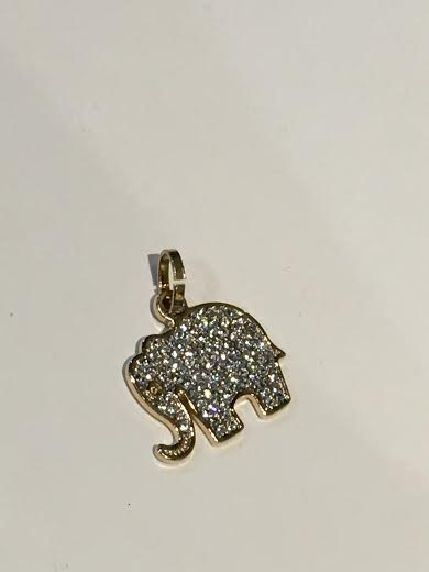 Small Gold Elephant With White Stones Charm