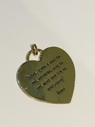 Gold Plain Heart With Writing